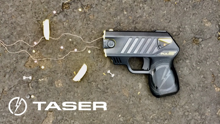 TASER cartridge with afids and logo